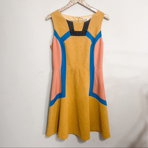 Anthropologie Champagne & Strawberry Mustard Color-block A-line Dress | 8